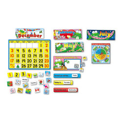 Carson-Dellosa Publishing - Carson-Dellosa Publishing Frog Calendar Bulletin Board Set - Fun frogs track the days of the year and help students learn about weather, time, seasons and holidays. Includes two sets of numbers (red and black), 12 headers, weather chart and 12 cards, day-of-the-week cards, 43 holiday calendar cover ups, and a frog topper. Resource guide also included.