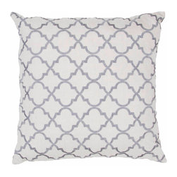 "Jaipur Rugs - Jaipur Ice Handmade Cotton Gray/Charcoal Pillow (20"" x 20"") - Modena is a cotton based pillow embroidered with geometric designs. Add to a bed or side chair for a great accent. Jaipur Ice Handmade Cotton Gray Pillow (20""x20"") MOA02. India. 100% Cotton"