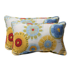 Pillow Perfect - Decorative Multicolored Floral Toss Pillows Rectangle, Set of Two - - Blue/White/Yellow  - 100% Polyester  - 100% Virgin Recycled Polyester Fill  - Self-Cord Edge  - Fade Resistant, Mildew Resistant, UV Protection, Water Resistant, Weather Resistant  - Made in USA Pillow Perfect - 450377
