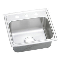 "Elkay - Elkay PSRQ19183  Pacemaker Single-Bowl Gourmet Sink with Quick-Clip - Elkay's PSRQ19183 is a Pacemaker Single-Bowl Gourmet Sink with Quick-Clip. This sink is constructed of 20-gauge type 304 nickel-bearing stainless steel, and can be mounted on almost any surface. It features a 7-1/8"" bowl depth, and a 3-1/2"" drain opening. This sink comes with a three-hole faucet mount."