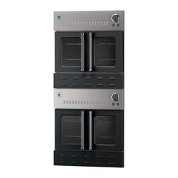 """30"""" BlueStar Double Gas Wall Oven - Jet Black (RAL 9005) 30"""" double wall oven features easy-to-use French doors, providing a unique look and simple functionality. All sizes are available in 190 different colors. Each oven contains a powerful 25,000 BTU burner and a 15,000 BTU ceramic infrared broiler. Powerful gas oven performance combined with the striking style of French Doors and a choice of 190 different colors."""