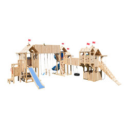 CedarWorks - CedarWorks Frolic 10 Swingset - The whole enchilada. I'd like to have a set with a little bit of everything but also complements my home and landscaping, do you have something like that? We sure do. The Frolic 10 is a great balance of beauty and play value. With accessories for all ages and whimsical cutouts and cupolas it provides a playset with some fun and challenging accessories that is aesthetically pleasing. Assembly is required.