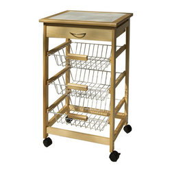 OIA - Kitchen Cart - Organize the clutter in your kitchen with this small kitchen cart. An inexpensive solution to storage and countertop space in your kitchen. Features: -Material: Wood / Chrome wire.-Three slide out baskets.-One top drawer.-Wheels with locking casters for mobility.-Color: Natural / Chrome.-Distressed: No.Dimensions: -Overall Dimensions: 30'' H x 18.5'' W x 14.5'' D.-Overall Product Weight: 21.38 lbs.Assembly: -Assembly required.