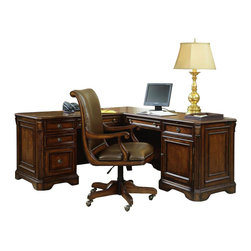 """Hooker Furniture - Brookhaven Executive """"L"""" Right Return - White glove, in-home delivery included!  Highly Distressed Medium Clear Cherry Finish.  Consists of: Left Pedestal Desk and Right Pedestal Return   Left Pedestal Desk - 68 1/4"""" w x 29"""" d x 30 1/2"""" h  Three drawers on steel ball bearing slides include two utility drawers, partitioned storage tray in top utility drawer, three sections in second utility drawer, one file drawer wtih Pendaflex hanging file system and center drawer with drop-front for use with a computer, pullout writing shelf, pedestal lock for all drawers, wire access grommets, levelers.  Keyboard/laptop area: 20 3/8"""" w x 19"""" d x 2 7/8"""" h  Right Pedestal Return - 50"""" w x 25"""" d x 30 1/2"""" h  One door with one adjustable shelf behind, center drawer with drop-front for use with a computer, one utility drawer with partitioned storage tray, all drawers on steel ball bearing drawer slides, pullout writing shelf, one pullout tray for printer, wire access grommets, levelers.  Printer area: 18"""" w x 19"""" d x 15"""" h  Kneespace area: 27 5/8"""" w x 22 1/4"""" d x 24 1/4"""" h"""