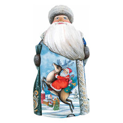 "Artistic Wood Carved Reindeer Rider Santa Claus Sculpture - Measures 6.5""H x 3.5""L x 3.25""W and weighs 1 lb. G. DeBrekht fine art traditional, vintage style sculpted figures are delightful and imaginative. Each figurine is artistically hand painted with detailed scenes including classic Christmas art, winter wonderlands and the true meaning of Christmas, nativity art. In the spirit of giving G. DeBrekht holiday decor makes beautiful collectible Christmas and holiday gifts to share with loved ones. Every G. DeBrekht holiday decoration is an original work of art sure to be cherished as a family tradition and treasured by future generations. Some items may have slight variations of the decoration on the decor due to the hand painted nature of the product. Decorating your home for Christmas is a special time for families. With G. DeBrekht holiday home decor and decorations you can choose your style and create a true holiday gallery of art for your family to enjoy. All Masterpiece and Signature Masterpiece woodcarvings are individually hand numbered. The old world classic art details on the freehand painted sculptures include animals, nature, winter scenes, Santa Claus, nativity and more inspired by an old Russian art technique using painting mediums of watercolor, acrylic and oil combinations in the G. Debrekht unique painting style. Linden wood, which is light in color is used to carve these masterpieces. The wood varies slightly in color."