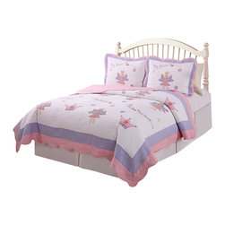 Pem America - Fairy Princess Garden Full / Queen Quilt with 2 Shams - Make that wish come true with this bed of detailed fairies in pink and purple. Hand crafted set includes 1 full/queen quilt (86x86 inches) and 2 standard shams (20x26 inches). Face cloth is prewashed 100% natural cotton.  Fill is 94% cotton / 6% other fibers. Hand crafted with embroidery. Machine washable.
