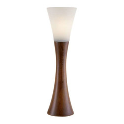 Adesso - Adesso Espresso Table Lantern, Walnut - 3200-15 - Each Espresso lamp has an hourglass shaped walnut finished wood base with a fluted frosted glass shade
