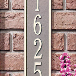 Lyon Vertical Address Plaque - Flanked by crested embellishments, this vertical address plaque is offered with your choice of street address or name. It is a stylish alternative that looks amazing installed alongside entryway doors. Made from high quality aluminum, this is built to withstand the elements, but can also be used indoors for office numbers and the like.