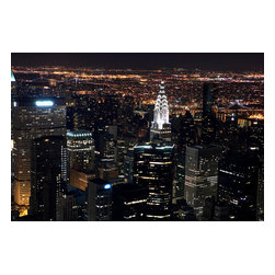 Custom Photo Factory - Aerial view of New York City Empire State Building, Canvas Wall Art - Aerial view of New York City at night, as seen from the Empire State Building, New York, NY, USA  Size: 20 Inches x 30 Inches . Ready to Hang on 1.5 Inch Thick Wooden Frame. 30 Day Money Back Guarantee. Made in America-Los Angeles, CA. High Quality, Archival Museum Grade Canvas. Will last 150 Plus Years Without Fading. High quality canvas art print using archival inks and museum grade canvas. Archival quality canvas print will last over 150 years without fading. Canvas reproduction comes in different sizes. Gallery-wrapped style: the entire print is wrapped around 1.5 inch thick wooden frame. We use the highest quality pine wood available. By purchasing this canvas art photo, you agree it's for personal use only and it's not for republication, re-transmission, reproduction or other use.