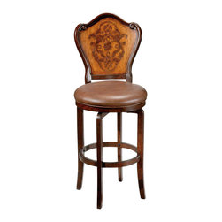 Hillsdale Furniture - Hillsdale Lyon Swivel Bar Stool with Brown Vinyl Seat in Oak and Brown - The Lyon stool is sure to be a classic addition to any home. The rich two tone wood finish adds warmth to the design while the gently curved back and delicate etched floral motif add interest. The brown vinyl and 360 degree swivel seat add to the overall appeal.