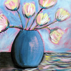 "Groovy Gal Designs Online - Tulips in a Vase Shabby Chic Acrylic Painting - This shabby-chic painting is really pretty, featuring a blue vase with creamy abstract tulips on a blue distressed background. Subtle yet vibrant--a great pop of color for home or office! The sides of the painting are painted black--it's ready to hang right out of the box! It measures 8"" x 10"" x .5"" and was done using acrylics on canvas."