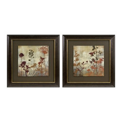 iMax - Tibbits Silhouette Framed Art, Set of 2 - Raised panels are surrounded by a classic frame in the set of two Tibbits Silhouette Framed Art.