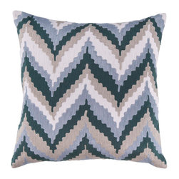"Surya AR053-1818P 100% Cotton 18"" x 18"" Decorative Pillow - With a unique chevron pattern, this beautiful pillow adds style to any space. Colors of dusk blue, ink, desert sand, and papyrus accent this decorative pillow. This pillow contains a poly fill and a zipper closure. Add this 18"" x 18"" pillow to your collection today. Filler: Poly Fiber. Shape: Square."