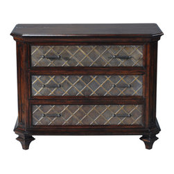 Ambella Home - Castilian Chest - Here is a chest that is equally at home in your bedroom or your dining room or your foyer. Even the end of your hallway would kill to embrace this handsome chest. Crafted from mindi and finished with a rich mahogany it sports embossed brass accents on the drawers.