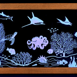 artist/handmade/custom - Framed Wall Art, Illuminated Art, Ocean Scene - Clear acrylic panel that has been carved on the back, illuminated by multi-color LED lights built into the solid oak frame. Includes remote control so you can turn the illumination on and off as well as change the color. Requires 120 volt wall outlet.