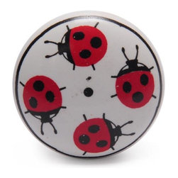 """Knobco - Ceramic Knob, Lady Bugs With White - Lady Bugs with White Ceramic knob, perfect for your kitchen and bathroom cabinets! The knob is 1.5"""" in diameter and includes screws for installation."""
