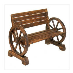 Flora And Fauna - Wagon Wheel Bench - Laze in the shade after a long day, this rustic bench is right at home  on patio, porch, or lawn.  Sturdy love seat has ample seating for two, with quaint wagon wheel armrests at either end.  It's country comfort at it's finest!  Some assembly required.  Due to the size and weight of this item, we are ONLY able to ship it within the Continental United States to physical address locations and only UPS ground.