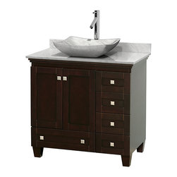 """Wyndham Collection - Acclaim 36"""" Espresso SGL Vanity, Carrera Marble Top, Avalon Sink, No Mrr - Sublimely linking traditional and modern design aesthetics, and part of the exclusive Wyndham Collection Designer Series by Christopher Grubb, the Acclaim Vanity is at home in almost every bathroom decor. This solid oak vanity blends the simple lines of traditional design with modern elements like beautiful overmount sinks and brushed chrome hardware, resulting in a timeless piece of bathroom furniture. The Acclaim is available with a White Carrera or Ivory marble counter, a choice of sinks, and matching Mrrs. Featuring soft close door hinges and drawer glides, you'll never hear a noisy door again! Meticulously finished with brushed chrome hardware, the attention to detail on this beautiful vanity is second to none and is sure to be envy of your friends and neighbors"""