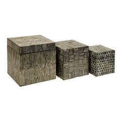 iMax - iMax Jacobs Mother of Pearl Boxes - Set of 3 X-3-60113 - Mosaic inlaid Mother of Pearl adorns this set of three Neal boxes with dramatic contrast.