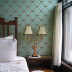 French Bee Trellis Stencil - French Bee Trellis Wal Stencil from Royal Design Studio Stencils. This handpainted wallpaper pattern stencil is perfect for a romantic bedroom or formal dining room, but it can also be used on furniture and fabric. This design fits well with antiques, as well as traditional, contemporary and eclectic furnishings.