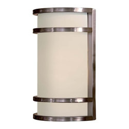 "The Great Outdoors - The Great Outdoors 9802-144-PL Stainless Steel Bay View Energy Star - Bay View One Light Wall Sconce Energy Star Rated Fixture Etched Opal Glass Extends: 4-1/2"" 1 26w Triple PL with 120V LVS Electronic Ballast (Bulb Included) Back plate dimensions are 7 7/8"" in width and 12 1/8"" in height"