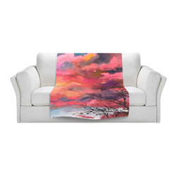DiaNoche Designs - Throw Blanket Fleece - Anne Gifford Red Clouds With Twig Tree - Original Artwork printed to an ultra soft fleece Blanket for a unique look and feel of your living room couch or bedroom space.  DiaNoche Designs uses images from artists all over the world to create Illuminated art, Canvas Art, Sheets, Pillows, Duvets, Blankets and many other items that you can print to.  Every purchase supports an artist!