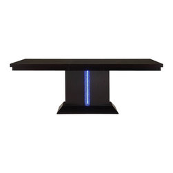 Homelegance - Homelegance Pulse Pedestal Dining Table with LED Lighting in Rich Espresso - An instant conversation piece, the pulse collection will wow your guests while providing a dramatic flair to your dining room. The cool contemporary look of the dining group features clean lines and a rich espresso finish, with an unexpected touch _ the crackle glass accent of the table base conceals blue led lighting. With the flip of a switch, your dining room beckons your guests to sit and enjoy themselves. Flanked by dark brown bi-cast vinyl seating, the pulse collection is the perfect addition to your modern home.