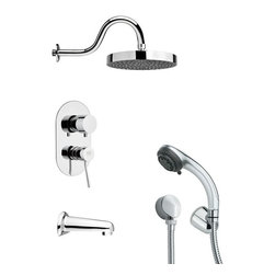Remer - Sleek Chrome Shower System - Multi function tub and shower faucet.