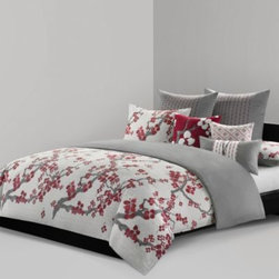N Natori - N Natori Cherry Blossom Duvet Cover - A symbol of happiness, love and hope, this ensemble features a cherry blossom motif set against a richly textured diamond pattern that gives it a subtle, yet distinctive elegance. This bedding is the perfect way to bring a joyful touch to your bedroom.
