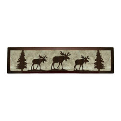 """Wildlife Decor LLC - Valance Style Bath Vanity Light, Rust-Amber Mica, 24"""", Moose - Valance style bath vanity light available in 4 lengths and your choice of designs."""