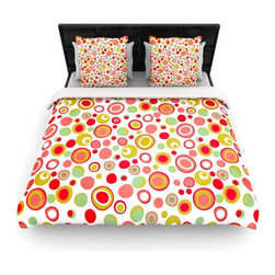 """Kess InHouse - Louise Machado """"Bubbles"""" Warm Circles Cotton Duvet Cover (Queen, 88"""" x 88"""") - Rest in comfort among this artistically inclined cotton blend duvet cover. This duvet cover is as light as a feather! You will be sure to be the envy of all of your guests with this aesthetically pleasing duvet. We highly recommend washing this as many times as you like as this material will not fade or lose comfort. Cotton blended, this duvet cover is not only beautiful and artistic but can be used year round with a duvet insert! Add our cotton shams to make your bed complete and looking stylish and artistic!"""