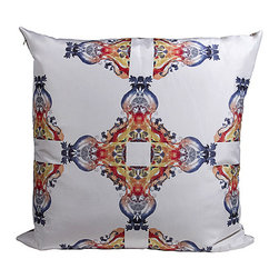 Tempo Luxury home - Grand Calais Pillow from the Odyssey Collection by Joe Ginsberg - A symphony of radiance against stunning white silk. Featuring a magnificent formation in symmetry and color, the Grand Calais decorative pillow adds a dynamic accent to any room. Image printed on raw silk taffeta; velvet-textured backing in Flint. Fill: 75% goose down; 25% feather. Each pillow from the Odyssey Collection is made to order and has an approximate lead-time of three weeks.