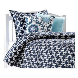 "American Made Dorm & Home - Navy Metro Oversized Twin Comforter with Matching Sham - Fabulous navy comforter for your dorm or home in oversized twin, 68"" x 90"", to fit both dorm and home. This navy ""metro"" pattern is a great contemporary design. The comforter is quilted and made in USA of the highest quality materials and workmanship. The comforter comes with one matching standard sham."