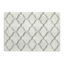 Silver Embroidered Quatrefoil Custom Placemat Set - Is your table looking sad and lonely? Give it a boost with at set of Simple Placemats. Customizable in hundreds of fabrics, you're sure to find the perfect set for daily dining or that fancy shindig. We love it in this classic quatrefoil trellis embroidered in gold on dark beige linen-like ground. every room can use a little glitz and glamour!