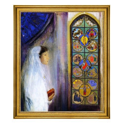 """Odilon Redon-16""""x20"""" Framed Canvas - 16"""" x 20"""" Odilon Redon Portrait of Simone Fayet in Holy Communion framed premium canvas print reproduced to meet museum quality standards. Our museum quality canvas prints are produced using high-precision print technology for a more accurate reproduction printed on high quality canvas with fade-resistant, archival inks. Our progressive business model allows us to offer works of art to you at the best wholesale pricing, significantly less than art gallery prices, affordable to all. This artwork is hand stretched onto wooden stretcher bars, then mounted into our 3"""" wide gold finish frame with black panel by one of our expert framers. Our framed canvas print comes with hardware, ready to hang on your wall.  We present a comprehensive collection of exceptional canvas art reproductions by Odilon Redon."""