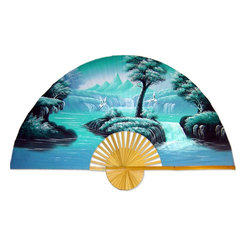 Oriental-Décor - Aqua Fantasy - Create a peaceful space on your wall with this delicate hand-painted fan depicting two graceful cranes soaring over the water. Cranes represent wisdom and longevity, creating just the right vibe for your home.