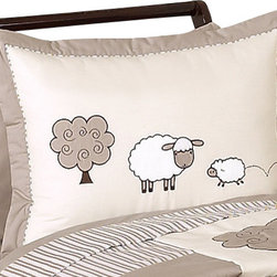Sweet Jojo Designs - Little Lamb Pillow Sham by Sweet Jojo Designs - The Little Lamb Pillow Sham by Sweet jojo designs, along with the bedding accessories.