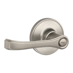 Schlage - Schlage Dexter Torino Satin Nickel Privacy Lever Set - Schlage Dexter Torino Satin Nickel privacy Lever sets. These sets are not handed, they will work on Right or Left handed doors. This is a locking lever set, perfect for a Bedroom or Bathroom.