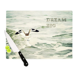 "Kess InHouse - Robin Dickinson ""Dream Big"" Ocean Bird Cutting Board (11"" x 7.5"") - These sturdy tempered glass cutting boards will make everything you chop look like a Dutch painting. Perfect the art of cooking with your KESS InHouse unique art cutting board. Go for patterns or painted, either way this non-skid, dishwasher safe cutting board is perfect for preparing any artistic dinner or serving. Cut, chop, serve or frame, all of these unique cutting boards are gorgeous."