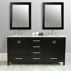"Stufurhome - Stufurhome 72"" Lissa Double Sink Vanity with Carrara White Marble Top - Stufurhome has the perfect bathroom vanity for your remodel at a perfect price. Stufurhome's vanities are pieces of finely made furniture detailed with rich color, charming woodwork, and ample storage space. Stylish, tasteful and practical, Stufurhome.An ideal complement to a contemporary decor, the 72"" Lissa Double Sink Vanity embodies the clean lines and sophistication of modern design. The espresso-finish cabinet, made of solid oak, lends a rich warmth to your bathroom and contrasts beautifully with the Carrara White Marble top. Sleek and simple satin nickel hardware adorns the European soft-closing sliders and doors, which give you ample space to store your bathroom items. FeaturesAdds contemporary flair to any space Soft closing cabinet hardware and soft closing drawer hardware Allows for easy plumbing and faucet installation 6 pre-drilled faucets holes Handcrafted and hand-finished Spacious storage for toiletries Fully assembled 72""W x 22""D x 36""HStufurhome 1 Year Limited-WarrantyHow to handle your counterView Spec Sheet"