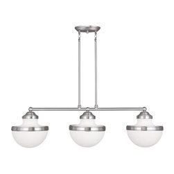 Joshua Marshal - Three Light Brushed Nickel Island Light - Three Light Brushed Nickel Island Light