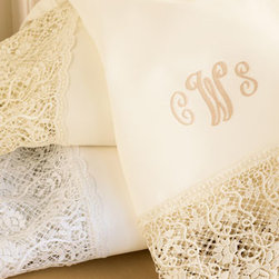 """Matouk - Matouk Callista Monogrammed Flat Sheet, Twin - Ours exclusively. Lace-trimmed """"Callista"""" sheets from Matouk are luxurious 350-thread-count cotton with three-initial monogram in style shown. For plain sheets, choose Flat or Fitted. Machine wash. Made in the USA. You will be able to specify persona..."""