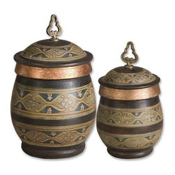 "Billy Moon - Billy Moon 19134 Cena Traditional Terra Cotta Canister - These decorative, terra cotta canisters have a distressed chestnut finish with sage green, blue, golden yellow, and antiqued metallic copper hand painted details. Removable lids.Sizes: Small (7"" x 13"" x 7""), Large (10"" x 15"" x 10""). Set of 2"