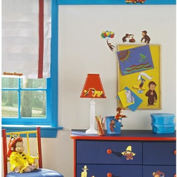 RoomMates - Curious George Peel & Stick Appliques - RMK1037SCS - Shop for Wall Decorations from Hayneedle.com! The mischievous monkey is back with the Man in the Yellow Hat hot on his heels. This classic childhood character will enchant your children for years decorating their walls encouraging creative play and helping them to remember the stories. Simply peel from the sheet apply carefully to a clean dry and flat surface and keep going until they're done. With the fun images and vibrant colors you can't go wrong so let your child no matter how old join in the fun. Simply remove and reapply whenever and wherever you so desire.These stickers will work on just about any surface but take care with wallpaper or some delicate surfaces. If in doubt test in an inconspicuous place prior to applying all the stickers. Also wait 10 to 15 days after painting before using stickers. Though the paint feels dry it needs adequate time to cure. As with any adhesive product these will work much better on clean surfaces free of dust and the like. Specifically they will work well on surfaces including but not limited to walls mirrors your fridge laptop covers tile glass lockers furniture and automotive surfaces.Please note this product does not ship to Pennsylvania.