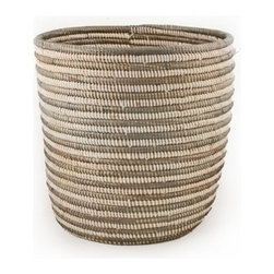 Silver and White Striped Basket - Baskets are great accessories for outdoor spaces. They are beautiful by themselves, but they also are great at hiding things that are not so beautiful. I love using them to collect things like toys and flip flops.