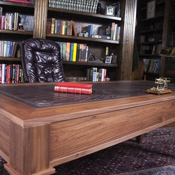 Overmyer Architects Miami Beach House - Walnut and Inlaid leather map desk with a clear matte finish. Designed by Dale Overmyer Architects. Leatherwork by Heath's Restoration Shop. Photographs by Alex Bodart Productions.