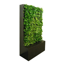 GSky Retail Living Wall Planter & Vertical Gardens - This huge GSky Smart Wall cabinet adds lush living art to your walls and works double time ridding your indoor air of harmful chemical compounds!  This 104 Plant living green wall measures 81x43x16, and uses standard 4-inch potted plants - no replanting!!  Build a much larger vertical garden with several units placed together.  Ships fully assembled, and is totally auto-irrigated.  Cabinets ship with large capacity water tank, pump and timer for weeks of automated watering. Get beautiful green walls for your home and purify indoor air naturally with GSky Smart Wall cabinets today.