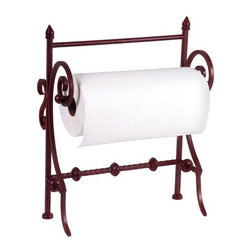 Red Paper Towel Holder - Red metal countertop paper towel holder