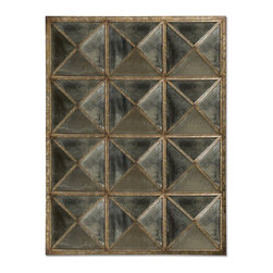 Howard Elliott - Quinn Antique Mirror - This Traditional Mirror features a unique window pane effect. It is made up of triangular panels of antique smoked glass with a frame work finished in mottled silver and verde with an all over faux rust effect.