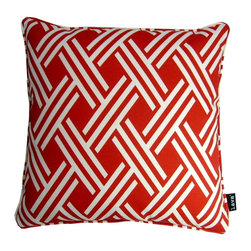 Lava - Fresco Red 18 x 18 Pillow (Indoor/Outdoor) - 100% polyester cover and fill. Made in USA. Spot clean only. Safe for use indoors or out.